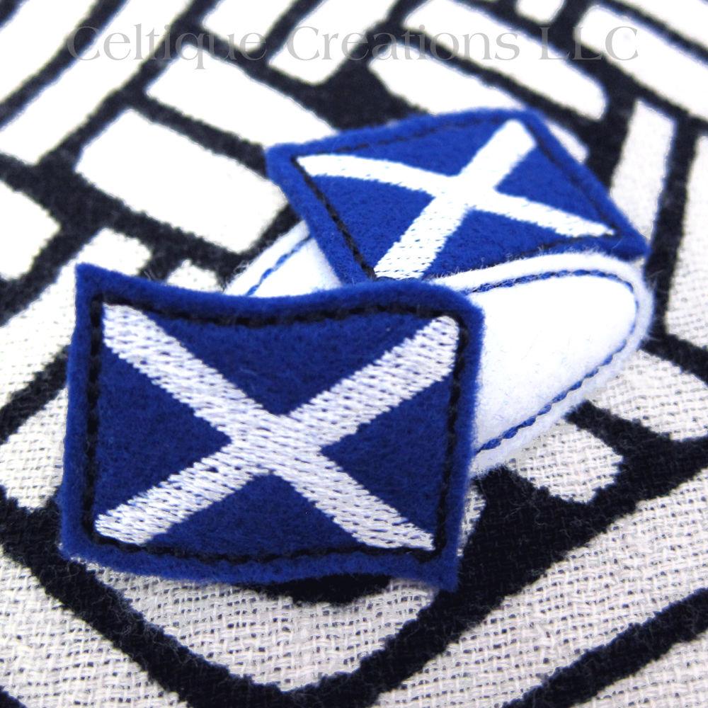 scottish flag snap hair clips st andrews cross saltire handmade