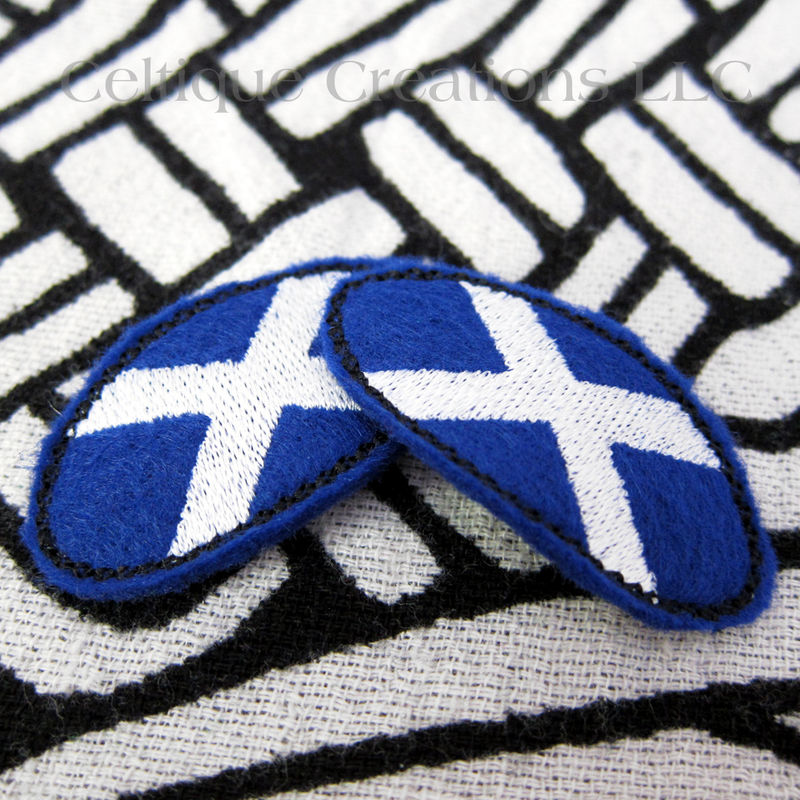 Oval St Andrew S Cross Snap Hair Clips Scottish Saltire