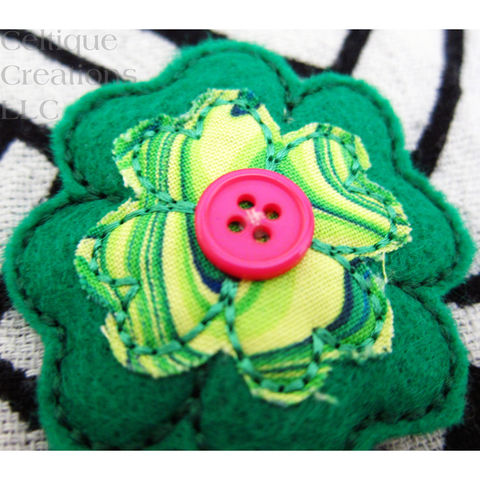 Lucky Four Leaf Clover Snap Hair Clip Handmade Irish Green Accessory - product images  of