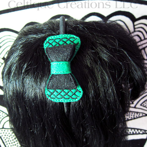 Celtic,Knotwork,Headband,Green,and,Black,Felt,Handmade,Hair,Accessory,Celtic Knot Hair Bow, Celtic Knot Headband, Celtic Hair Accessory, Celtic Bow Headband, Handmade Celtic Hair Bow, Celtic Headband