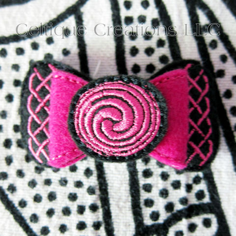 Celtic,Knot,Hair,Bow,Barrette,Fuchsia,Pink,and,Black,Felt,Handmade,Celtic Knot Hair Bow, Celtic Bow Barrette, Celtic Bow Hair Accessory, Handmade Celtic Hair Clip