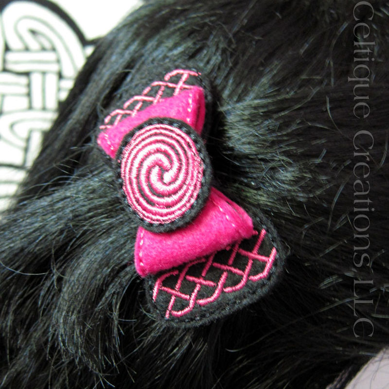 Celtic Knot Hair Bow Barrette Fuchsia Pink and Black Felt Handmade - product images  of