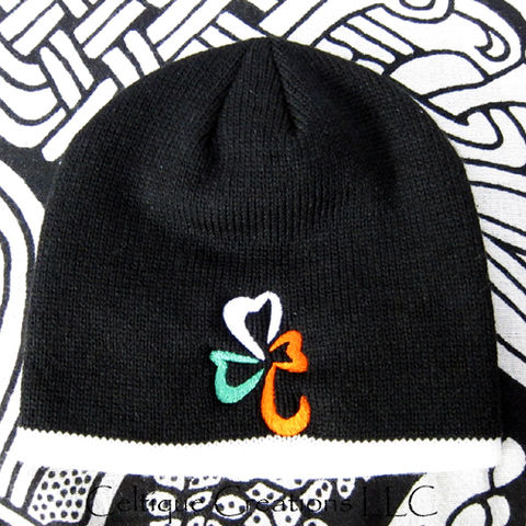 Irish Flag Shamrock Knit Black Winter Cap Ireland Tricolor Hat Green - product images  of