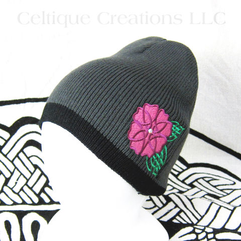 Celtic,Knot,Wild,Rose,Beanie,Knit,Winter,Hat,with,Swarovski,Crystal,Wild Celtic Rose Winter Hat, Women's Celtic Flower Winter Hat, Women's Knit Celtic Cap, Celtic Knot Flower Beanie