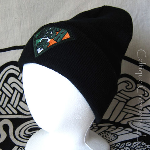 Irish Super Hero Knit Hat Black Cap with Shamrock and Ireland Flag - product images  of