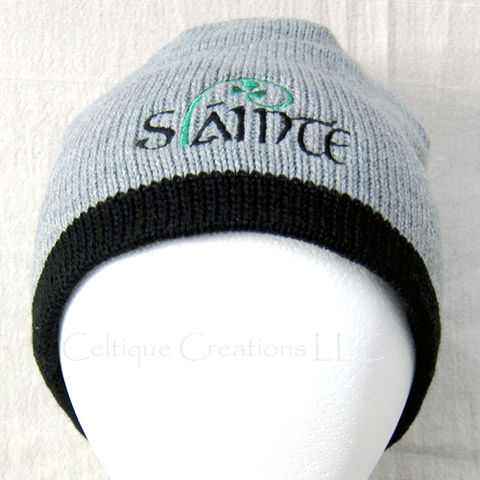Irish,Gaelic,Shamrock,Knit,Cap,Winter,Hat,Slainte,Embroidery,Black,Irish Gaelic Cap, Irish Shamrock Winter Cap, Irish Beanie, Irish Skully, Irish Gaelic Winter Hat, Irish Shamrock Knit Cap