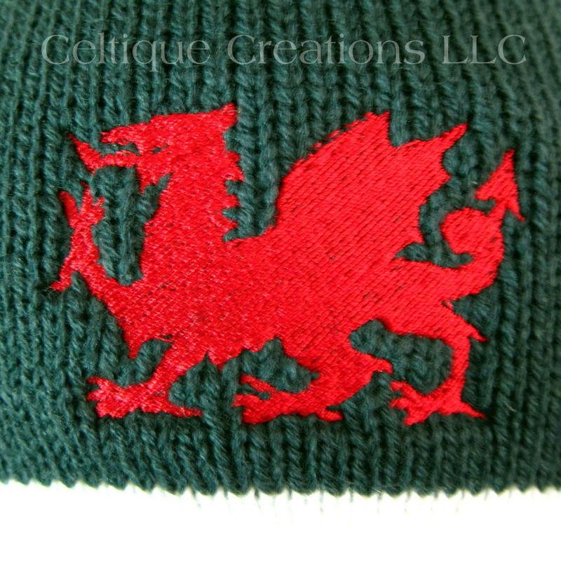 Welsh Dragon Winter Beanie Cap Forest Green Cream Knit Cap Red Dragon - Celti...