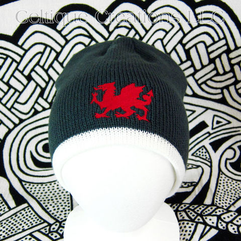 Welsh,Dragon,Winter,Beanie,Cap,Forest,Green,Cream,Knit,Red,Welsh Dragon Hat, Welsh Dragon Winter Cap, Dragon Knit Cap, Welsh Dragon Beanie, Welsh Dragon Skully