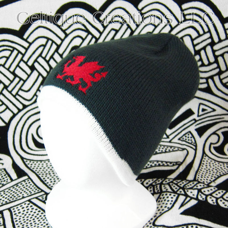 Welsh Dragon Winter Beanie Cap Forest Green Cream Knit Cap Red Dragon - product images  of