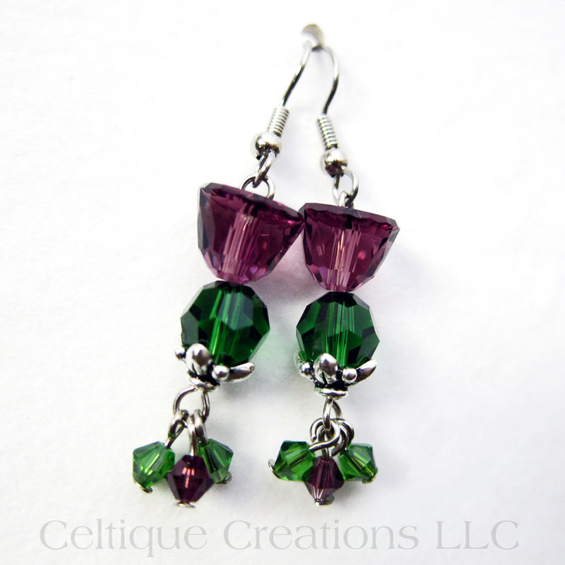 Scottish Thistle Crystal Earrings Handmade Jewelry With Swarovski Bead Product Images Of