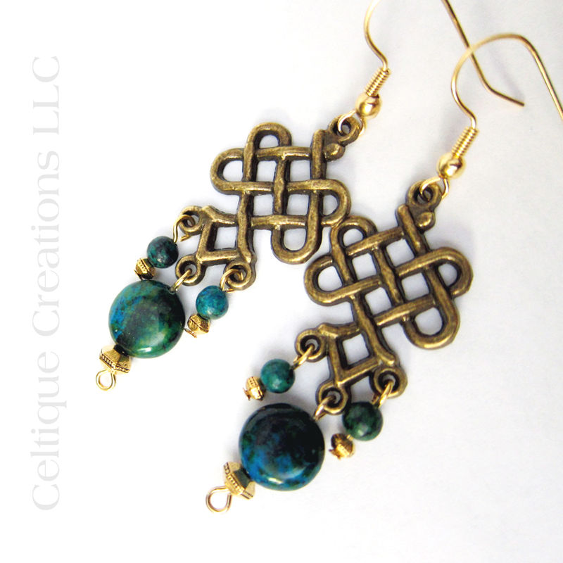 Celtic Knot Chandelier Dangle Earrings with Australian Jasper Handmade - product images  of