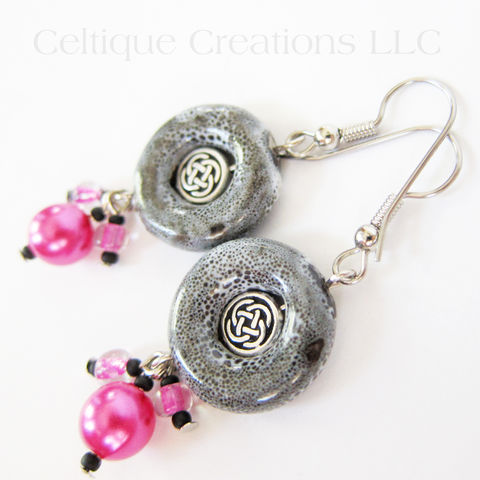 Handmade,Celtic,Earrings,Pink,Black,and,White,Silver,Knotwork,Cluster,Celtic Fashion Earrings, Handmade Celtic Dangle Earrings, One of a Kind Celtic Earrings, Black and Pink Celtic Earrings