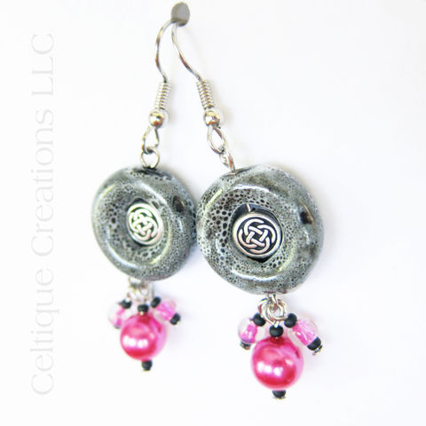 Handmade Celtic Earrings Pink Black and White Silver Knotwork Cluster - product images  of
