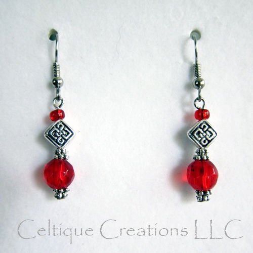Celtic Knot Red Dangle Earrings Glass Pewter Surgical Steel Ear Wires - product image