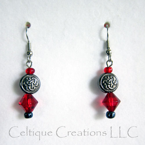 Celtic Trinity Knot Earrings with Red Bead Accents Surgical Steel Wire - product image