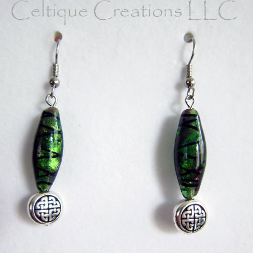 Celtic Knot Bead Earrings Green Purple Dichoric Glass Surgical Steel - product image