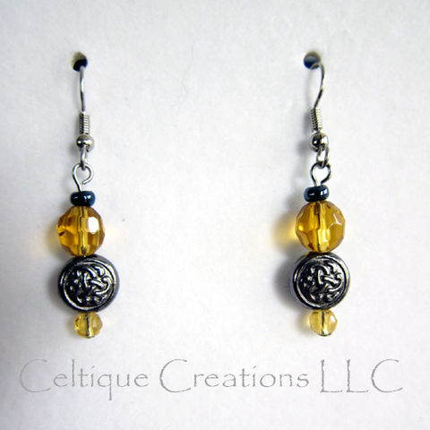 Celtic,Golden,Yellow,and,Gunmetal,Gray,Drop,Earrings,Trinity,Knotwork,Yellow Celtic Earrings, Celtic Knot Earrings, Handmade Celtic Trinity Knot Earrings, Celtic Dangle Earrings, Celtic Fashion Earrings