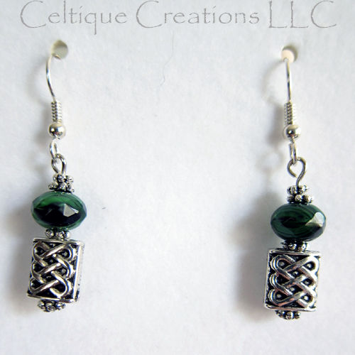 Celtic Dangle Earrings with Green Black Bead Silver Wire Hidden Hearts - product image