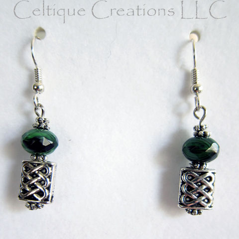 Celtic,Dangle,Earrings,with,Green,Black,Bead,Silver,Wire,Hidden,Hearts,Celtic Heart Earrings, Handmade Celtic Earrings, Celtic Fashion Earrings, Celtic Knot Earrings, Celtic Dangle Earrings