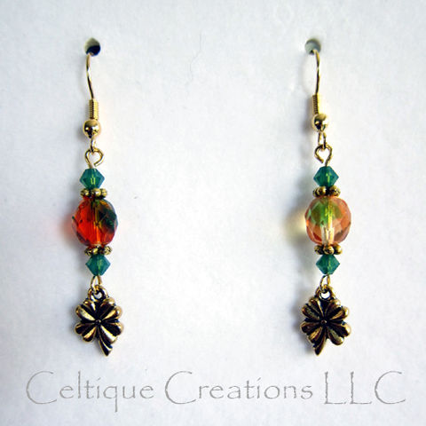 Gold,Four,Leaf,Clover,Earrings,with,Irish,Orange,Green,Glass,Beads,Four Leaf Clover Earrings, Irish Shamrock Earrings, Handmade Irish Dangle Earrings, Handmade Clover Earrings, Irish Fashion Earrings