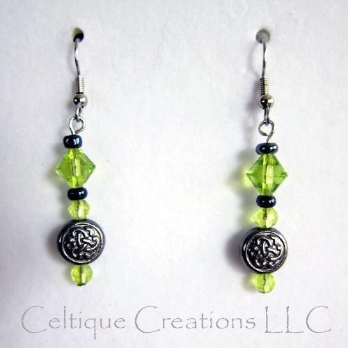 Celtic Trinity Knot Earrings Celery Green and Gunmetal Gray Beads - product image
