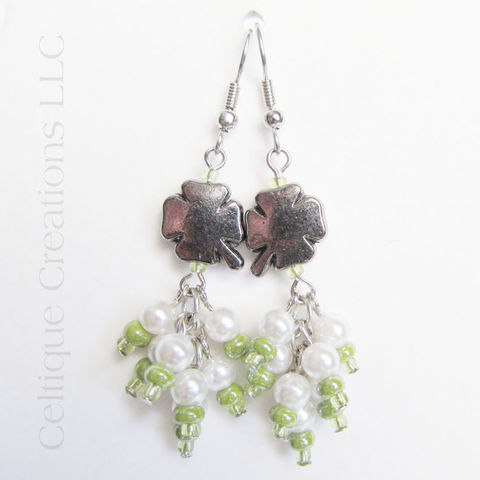 Irish,Clover,Drop,Cluster,Earrings,Fashion,Jewelry,Pewter,Shamrock,Irish Clover Cluster Earrings, Handmade Irish Earrings, Shamrock Cluster Earrings, Irish Shamrock Earrings, Irish Fashion Earrings, Irish Dangle Earrings