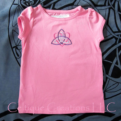 Celtic,Trinity,Knot,Toddler,T-Shirt,24M,Heart,Knotwork,Embroidery,Celtic Trinity Knot Toddler T-shirt, Little Girls Celtic Tee, Toddler Celtic Trinity Knot T-shirt