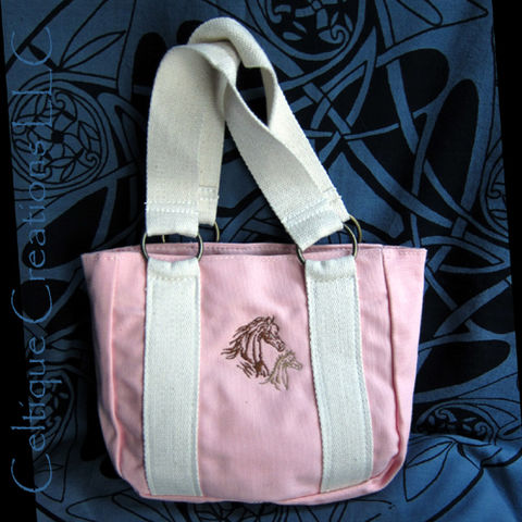 Little,Girl,Petite,Pink,Cotton,Canvas,Tote,Bag,with,Horse,Embroidery,Little Tote Bag, Horse Tote Bag, Pink Tote Bag with Horses