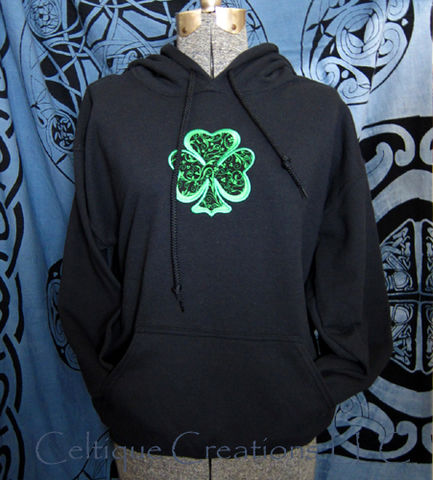 Irish,Shamrock,Hooded,Sweatshirt,Black,Hoodie,Applique,Embroidery,Irish Shamrock Sweatshirt, Shamrock Hooded Sweatshirt, St. Patrick's Day Irish Shamrock Sweatshirt, Shamrock Hoodie