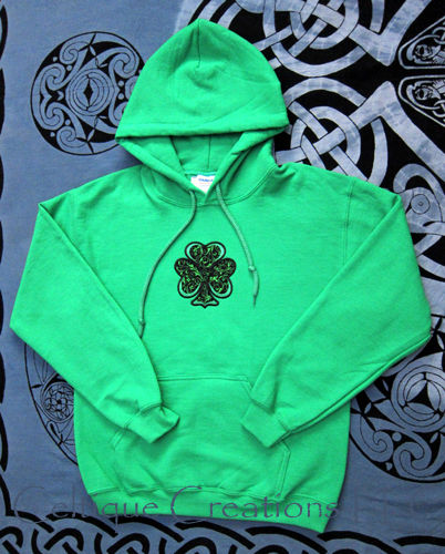 Irish Shamrock Green Hooded Sweatshirt Applique Clover Hoodie - product images  of
