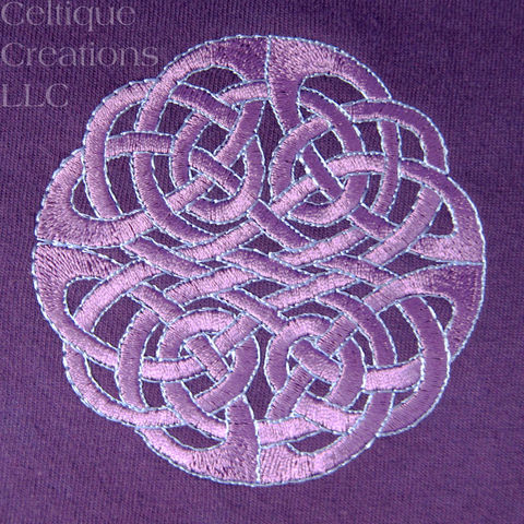 Circle Celtic Knot T-Shirt Tie Dyed Purple and Blue Embroidered Design - product images  of