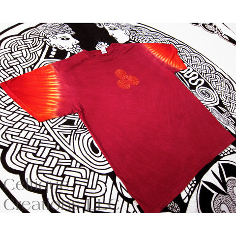 Celtic Triskele Triskelion T-Shirt Firy Red Hand Tie Dye Orange Embroidery - product images  of