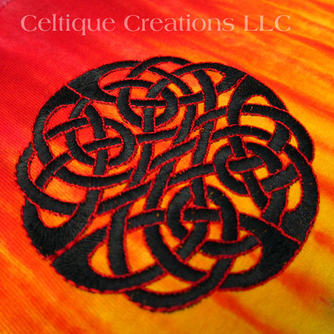 Celtic Knot Embroidered Long Sleeve T-Shirt Tie-Dyed Fire and Black - product images  of