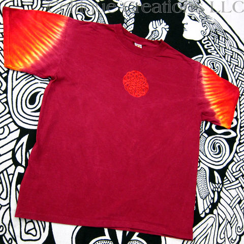 Celtic,Circle,Knot,T-Shirt,Red,Tie-Dyed,Sleeve,Tee,Embroidered,Knotwork,Hand Tie Dyed Red Celtic T-shirt, Celtic Knot Tie Dye T-shirt, Red Tie Dye Celtic Knot Tee Shirt
