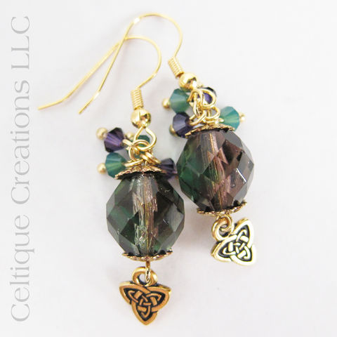 Handmade,Celtic,Trinity,Knot,Drop,Earrings,in,Gold,,Purple,and,Green,Trinity Knot Earrings, Celtic Knot Earrings, Celtic Drop Earrings, Celtic Fashion Earrings, Handmade Celtic Earrings, Gold Celtic Earrings, Celtique Creations