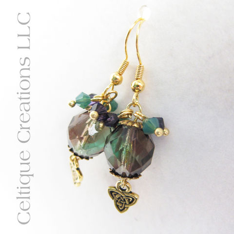 Handmade Celtic Trinity Knot Drop Earrings in Gold, Purple and Green - product images  of