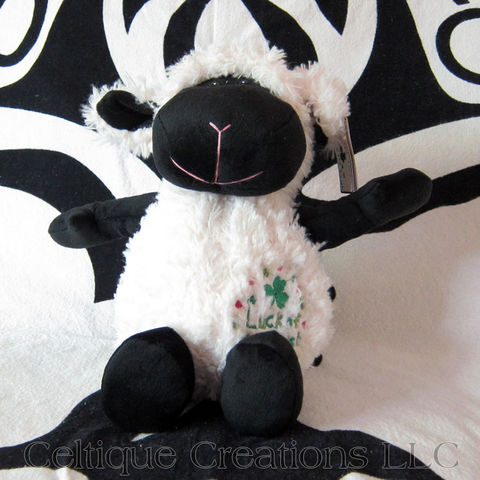 Large,Sitting,Luck,of,the,Irish,Lamb,Stuffed,Animal,Sheep,Soft,Toy,Luck of the Irish, sheep stuffed animal, sheep soft toy, lamb stuffed animal, lamb soft toy, Irish sheep, Irish lamb, shamrock, black faced sheep, black faced lamb, celtique creations