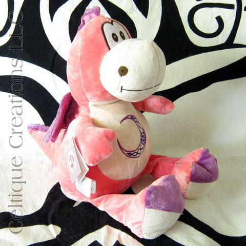 Celtic,Pink,and,Purple,Cubbies,Dragon,Stuffed,Animal,with,Moon, Dragon, Pink Dragon, Celtic Dragon, Dragon Stuffed Animal, Dragon Soft Toy, Cubbies Dragon, Celtique Creations, Celtic Moon