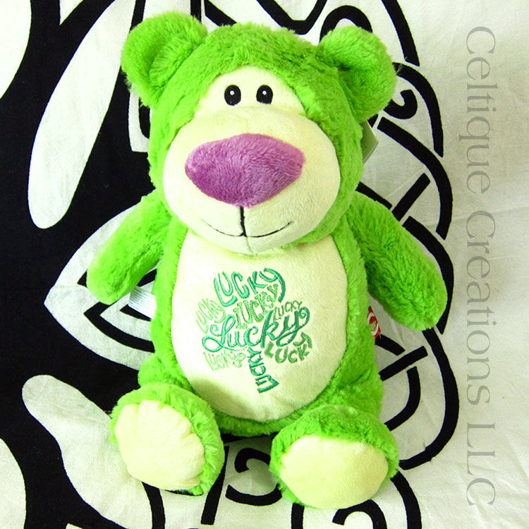 Lucky Irish Cubbies Teddy Bear Stuffed Animal Lime Green Shamrock Soft Toy - product images  of