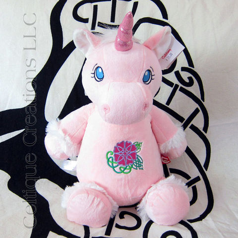 Celtic,Pink,Unicorn,Cubbies,Stuffed,Animal,with,Flower,Embroidery,Celtic Flower, Celtic Rose, Celtic Unicorn, Unicorn stuffed Animal, Unicorn Soft Toy, Cubbies Unicorn, Pink Unicorn Stuffed Animal, Pink Unicorn, Celtique Creations
