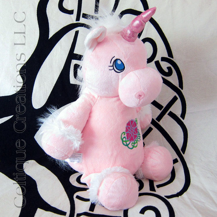 Celtic Pink Unicorn Cubbies Stuffed Animal with Celtic Flower Embroidery - product images  of
