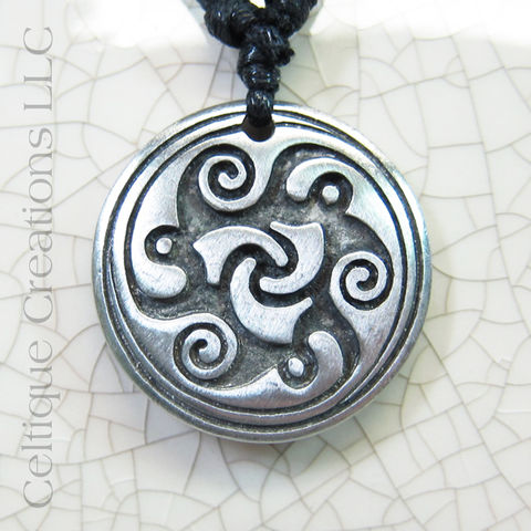 Celtic,Trinity,Knot,Triskele,Fine,Pewter,Adjustable,Necklace,Fine Pewter Celtic Necklace, Adjustable Celtic Necklace, Triskele Necklace, Triple Spiral Necklace, Celtique Creations