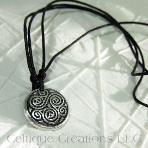Intricate,Celtic,Triskele,Fine,Pewter,Adjustable,Necklace,Celtic Triskele, Celtic Triple Spiral Necklace, Celtic Jewelry, Celtic Pewter Necklace, Triple Spiral, Triskele, Triskelion, Celtic Necklace, Celtique Creations