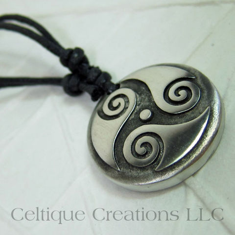 Cetlic,Triskele,Cirlcle,Fine,Pewter,Adjustable,Necklace,Celtic Triskele, Celtic Triple Spiral Necklace, Celtic Jewelry, Celtic Pewter Necklace, Triple Spiral, Triskele, Triskelion, Celtic Necklace, Celtique Creations