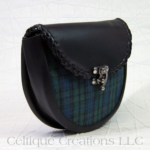 Handmade,Plaid,Sporran,Black,Leather,Kilt,Accessory, Handmade Sporran, Plaid Sporran, Day Sporran, Belt Pouch, Celtique Creations
