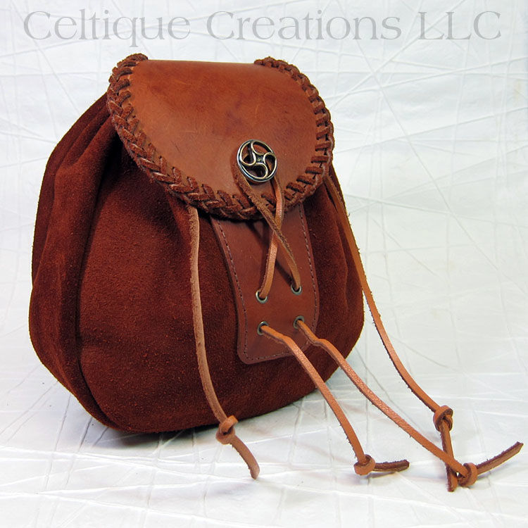 extra large handmade rob roy sporran brown suede leather