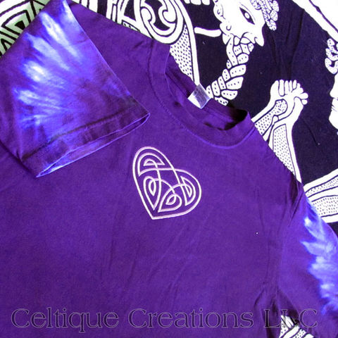 Celtic,Heart,Tie,Dye,Purple,T-Shirt,Celtic T-Shirt, Celtic Shirt, Celtic Tie Dye Shirt, Celtic Embroidered Shirt, Celtique Creations