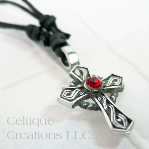 Celtic,Cross,Fine,Pewter,Adjustable,Necklace,with,Red,Rhinestone,Celtic Cross Necklace, Pewter Celtic Necklace, Celtic Cross Adjustable Necklace, Adjustable Celtic Necklace, Celtic Jewelry, Celtique Creations