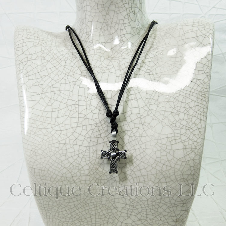 Square Knot Celtic Cross Necklace Adjustable Fine Pewter - product images  of