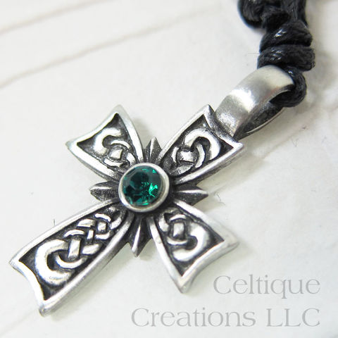 Celtic,Cross,Fine,Pewter,Adjustable,Necklace,with,Kelly,Green,Rhinestone,Green Stone Celtic Cross Necklace, Celtic Cross Necklace, Pewter Celtic Necklace, Celtic Cross Adjustable Necklace, Adjustable Celtic Necklace, Celtic Jewelry, Celtique Creations